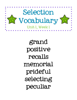 Reading Street Vocabulary Lists Grade 4
