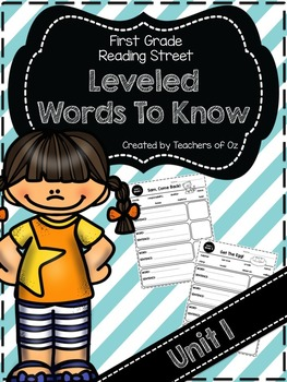 Reading Street Words To Know UNIT 1