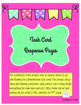 Reading Task Card Response Sheets
