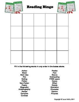 Reading Terms Bingo- Common Core ELA L.5, L.6
