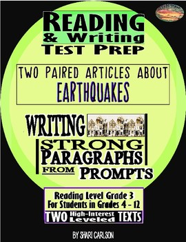 "Reading & Writing Test Prep  2 Hi-Lo  Paired Texts ""Earthquake!"""