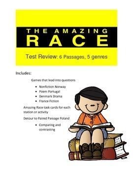 Reading Test Review Game- Amazing Race Theme 6 passages in