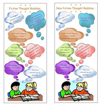 Reading Thought Bubbles Anchor Charts and Bookmarks for Co
