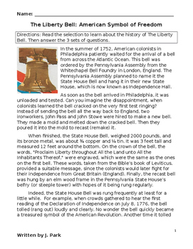 Reading & U.S. History Lesson THE LIBERTY BELL + 20 Compre
