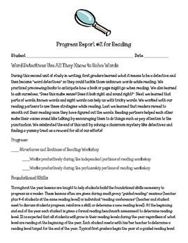 Reading Units of Study Word Detectives Parent Progress Letter