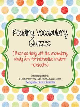 Reading Vocab Quizzes