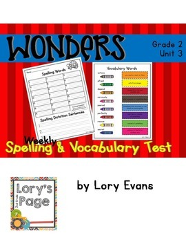 2nd Grade WONDERS Spelling & Vocabulary Test Unit 3