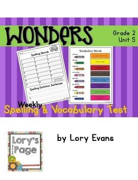 2nd Grade WONDERS Spelling & Vocabulary Test Unit 5