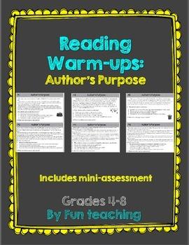 Reading Warm-Ups: Author's Purpose