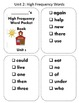Reading Wonder High Frequency Word Pocket ( sticker) Books