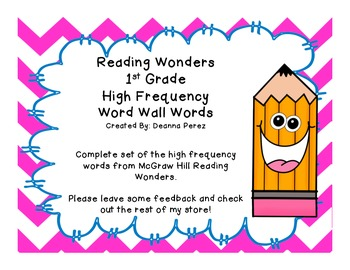 Reading Wonders 1st Grade High Frequency Word Wall Words