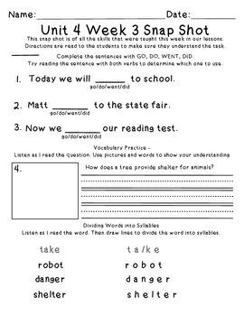 Reading Wonders 1st Grade Unit 4 Week 3 Weekly Assessment