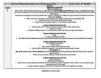 Reading Wonders 2nd Grade UNIT 5 WEEK 3 Whole Group Plans