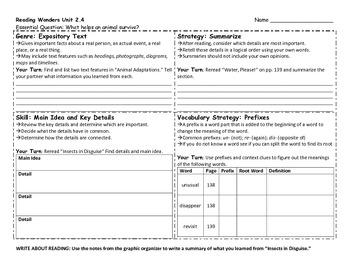 Reading Wonders 4th Grade Skills Sheet Unit 2 Week 4