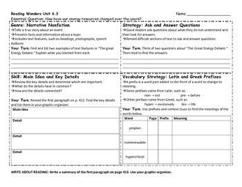 Reading Wonders 4th Grade Skills Sheet Unit 6 Week 3