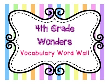Wonders Reading 4th Grade Word Wall