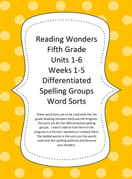 Reading Wonders 5th Grade Bundled Word Sorts Units 1-6