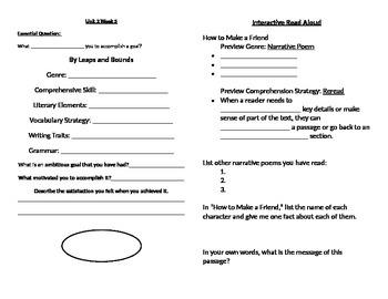 Reading Wonders 5th Grade Unit 2 Week 5 Journal