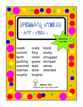 Reading Wonders 5th grade Unit 1 Week 1 Spelling (BL)