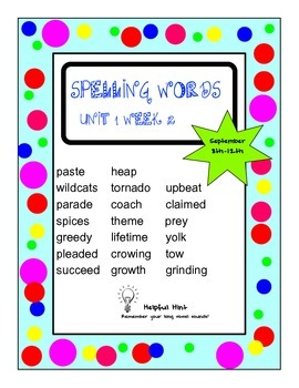 Reading Wonders 5th grade Unit 1 Week 2 Spelling (BL)