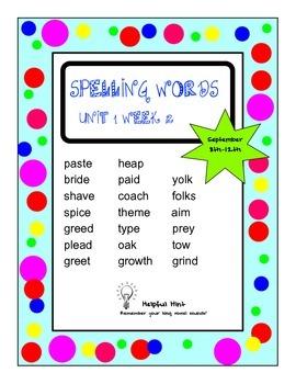 Reading Wonders 5th grade Unit 1 Week 2 Spelling (OL)