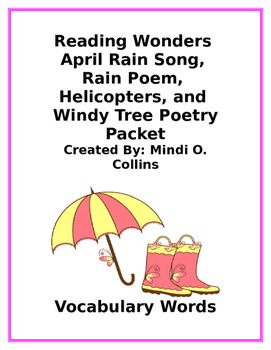 Reading Wonders April Rain Song, Rain Poem, Helicopters, a