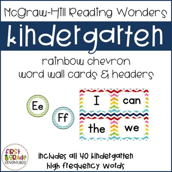 Reading Wonders Chevron High Frequency Word Wall Cards -Ki