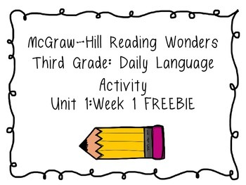 Reading Wonders Daily Language Grammar Activity - Grade 3