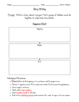 Reading Wonders First Grade Unit 6 Writing Activities with