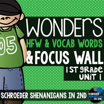 Reading Wonders Focus Wall and word cards for Grade 1 Unit 1