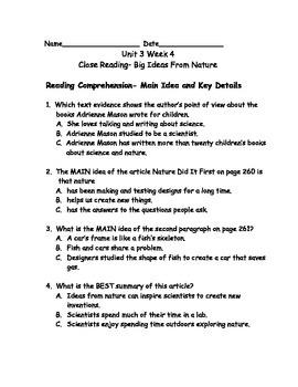 Reading Wonders Grade 3 Unit 3 Week 4 Comprehension Worksheets