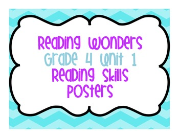 Reading Wonders Grade 4 Unit 1 Reading Skills Posters