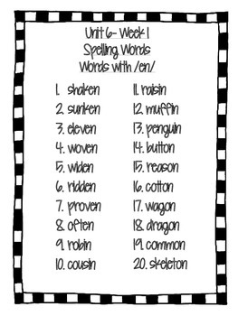 Reading Wonders- Grade 4- Unit 6- Spelling Words