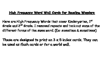 Reading Wonders - High Frequency Word Cards