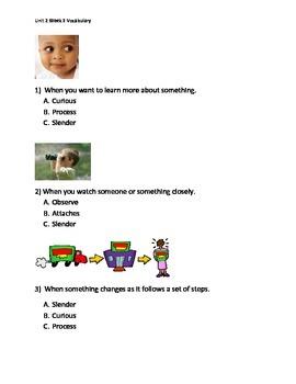 Reading Wonders K Vocabulary Unit 2 Week 3 Assessment