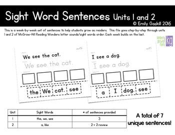 Reading Wonders Kindergarten Sight Word Sentences Units 1 and 2
