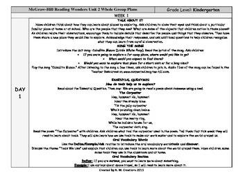 Reading Wonders Kindergarten UNIT 3 WEEKS 1-3 Whole Group