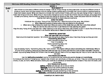 Reading Wonders Kindergarten UNIT 9 WEEK 1 Whole Group Plans