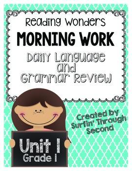 Reading Wonders Morning Work Unit 1 Grade 1