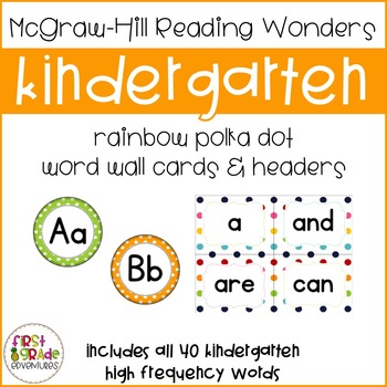 Reading Wonders Polka Dot High Frequency Word Wall Cards-K