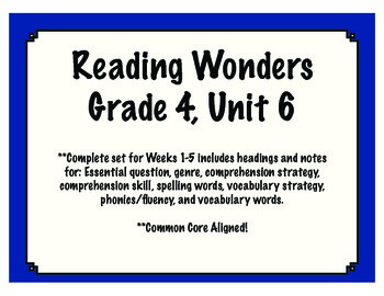 Reading Wonders Resources, Grade 4: Unit 6