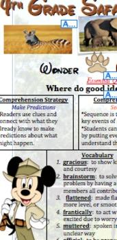 Reading Wonders - Safari Focus Sheet Unit 1 Week 1