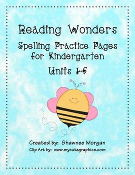 Reading Wonders Spelling Practice Pages for Kindergarten -