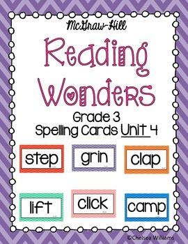Reading Wonders Spelling Words Unit 4 3rd grade