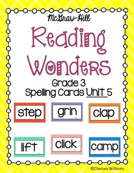 McGraw-Hill Wonders 3rd Grade Spelling Words Unit 5