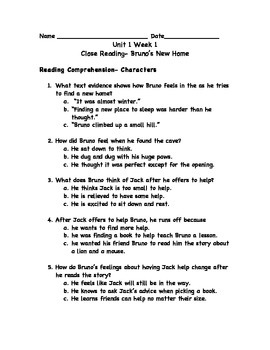 Reading Wonders Unit 1 Workshop Worksheets