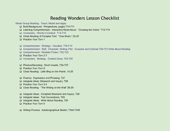 Reading Wonders Unit 1 Lesson Checklists