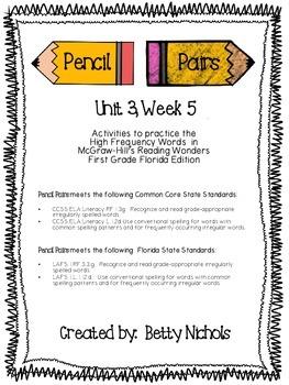 Reading Wonders Unit 3 Week 5 Pencil Pairs ***WITH 45 BONU