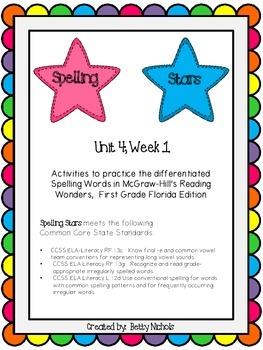 Reading Wonders Unit 4 Week 1 Spelling Stars
