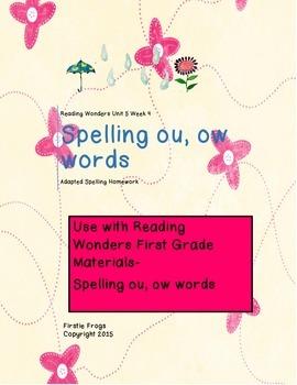 Reading Wonders Unit 5 Week 4 First Grade Adapted Spelling
